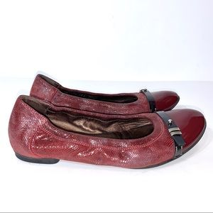 AGL Maroon Berry Red Leather Ballet Flats Size 38